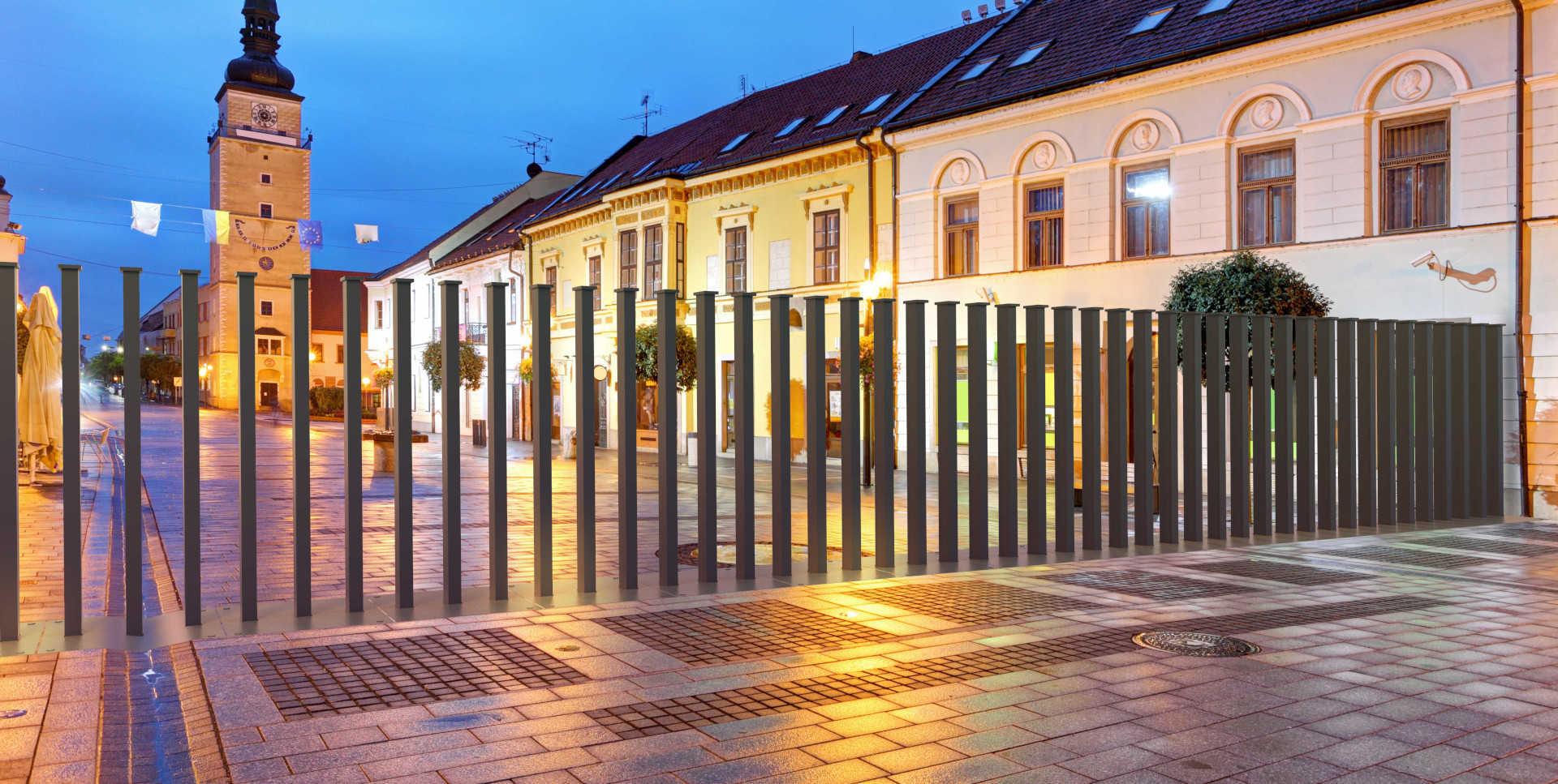 Die Stadt, anti Terror Absperrung geschlossen